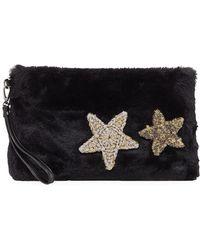 Evelyn K - Star Patch Faux-fur Clutch Bag - Lyst