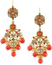 Jose & Maria Barrera - Coral-hued Filigree Chandelier Earrings - Lyst