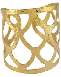 Devon Leigh - Textured Golden Cuff Bracelet - Lyst