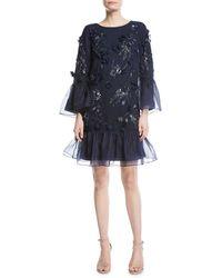 Marchesa notte - Organza-paneled Embellished Tulle Mini Dress - Lyst