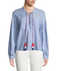 English Factory - Shirred-sleeve Striped Cotton Blouse W/ Lace-up Tassels - Lyst