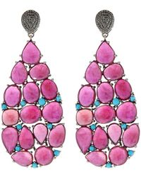 Bavna - Black Silver Teardrop Earrings With Composite Ruby & Turquoise - Lyst