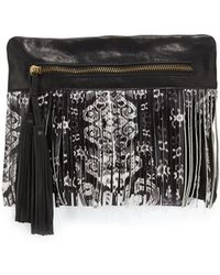 Cynthia Vincent - Calida Printed-fringe Leather Clutch Bag - Lyst
