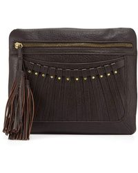 Cynthia Vincent - Bitten Leather Tassel Clutch Bag - Lyst