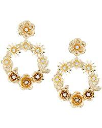 Fragments - Floral Hoop Drop Earrings - Lyst