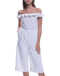 cd527e53bf0a English Factory - Ruffle Off-shoulder Striped Jumpsuit - Lyst