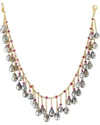 Assael - 18k Tahitian Pearl & Ruby Fringe Necklace - Lyst