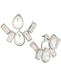 Lydell NYC - Rhodium-tone Mixed Crystal Jacket Earrings - Lyst