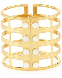 Lydell NYC - Golden Pearly Grid Cuff Bracelet - Lyst
