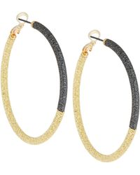 Lydell NYC - Textured Two-tone Hoop Earrings - Lyst
