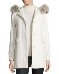 Fleurette - Hooded Wool Duffle Coat With Fur Trim - Lyst