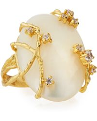 Indulgems - Celeste Golden Shell Pearl & Crystal Vine Ring - Lyst