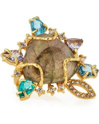 Indulgems - Golden Labradorite Gemstone Cluster Cocktail Ring - Lyst