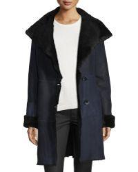 Goes - Suede Belted Coat W/ Fur Trim - Lyst