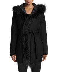 Fleurette - Reversible Wool-blend Coat W/ Fur Trim - Lyst