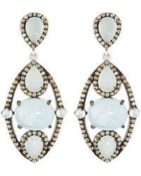 Bavna - Silver Drop Earrings With Champagne Rose-cut Diamonds & Aquamarine - Lyst
