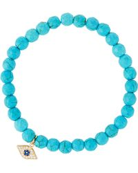 Tai - Beaded Stretch Bracelet W/ Pave Evil Eye Charm - Lyst