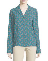 Michael Kors - Button-front Paisley Pajama Top - Lyst
