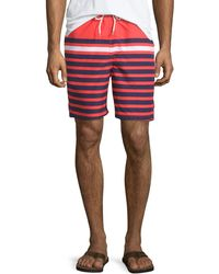 Neiman Marcus - Multi-stripe Swim Trunks - Lyst