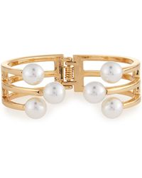 Lydell NYC - Golden Pearly Hinged Cuff Bracelet - Lyst