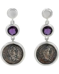 1884 Collection - Legacy Vivace Silver Coin & Amethyst Triple-drop Earrings - Lyst