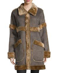 Goes - Fur-trim Snap Front Coat - Lyst