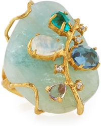 Indulgems - Golden Aquamarine Gemstone Cluster Cocktail Ring - Lyst