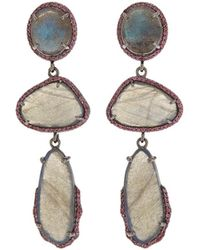 Bavna - Black Silver 3-drop Earrings With Labradorite & Rhodolite - Lyst