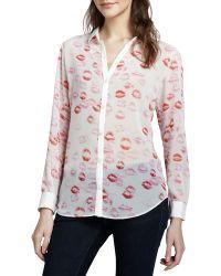 Pamella Roland - Lipstick-print Button-down Shirt - Lyst
