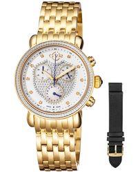Gv2 - 37mm Marsala Chronograph Watch W/ Diamonds & Leather Strap Gold - Lyst