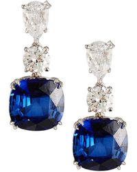 Fantasia by Deserio - Mixed-cut Simulated Sapphire & Clear Cz Drop Earrings - Lyst