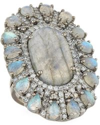 Bavna - Labradorite & Diamond Cocktail Ring - Lyst