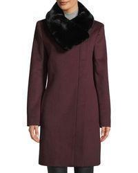 Donna Karan - Faux-fur Collar Wool Jacket - Lyst