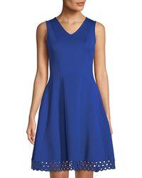 Donna Ricco - V-neck Fit & Flare Lace-hem Dress - Lyst