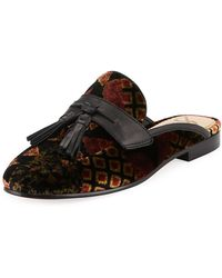 Sam Edelman - Paris Floral-embroidered Velvet Tassel Mule Loafer - Lyst