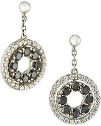 Roberto Coin - 18k White Gold Double-sided Diamond Earrings Black/white - Lyst