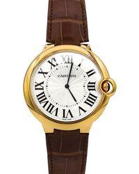 Cartier - Pre-owned 46mm Ballon Bleu Leather Watch - Lyst