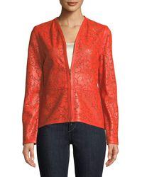 ESCADA - Floral Laser-cut Leather Jacket - Lyst