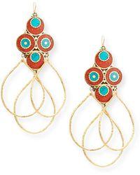 Devon Leigh - Turquoise & Coral Triple Hoop Earrings - Lyst