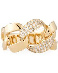 Neiman Marcus | 14k Yellow Gold Diamond Chain Ring | Lyst