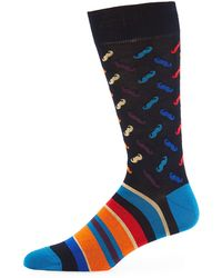 Bugatchi - Men's Mustache-cuff Striped Socks - Lyst