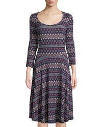 Melissa Masse - 3/4-sleeve Printed Fit & Flare Dress - Lyst