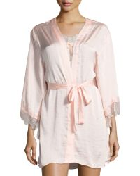 Band Of Gypsies - Satin Kimono Lace-panel Robe - Lyst