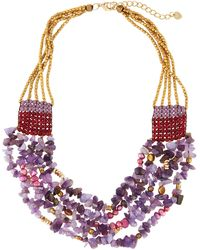 Nakamol - Multi-strand Layered Amethyst & Pearl Beaded Necklace - Lyst