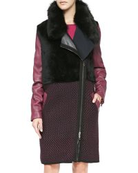 Ohne Titel - Leather/knit/shearling Fur Zip Coat - Lyst