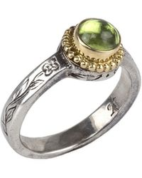 Konstantino - Round Peridot Ring W/ Floral-etched Band - Lyst