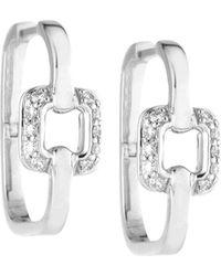 Mimi So - Piece 18k White Gold Square Diamond Station Hoop Earrings - Lyst