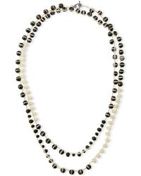 An Old Soul - Black & White Striped Agate Crocheted Necklace - Lyst