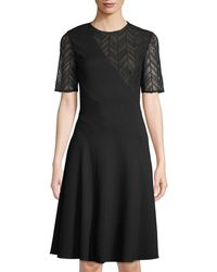 Jason Wu - Ponte Midi Dress W/ Herringbone-lace - Lyst