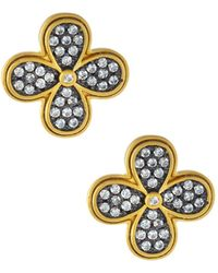 Freida Rothman - Oversized Pave Clover Stud Earrings - Lyst